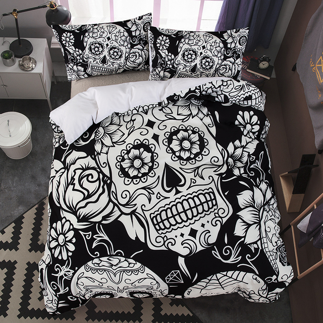 Cilected Black White Skull Single Bed Sheets 200 230cm 200cm 1pc Flat