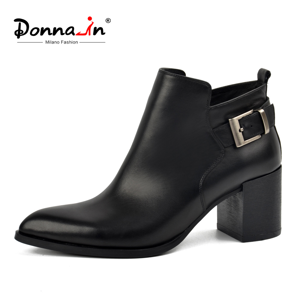 Donna-in genuine leather ankle boots elegant pointed toe thick heel ladies shoes short boots women's leather boots winter boots donna in genuine leather women boots shoes classic round toe thick heel ankle boots black calf leather ladies boots