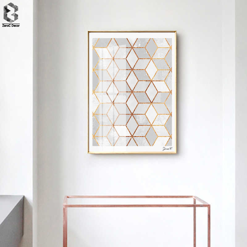 Nordic Geometric Cube Posters and Prints Wall Art Canvas Painting Wall Pictures For Living Room Home Decoration