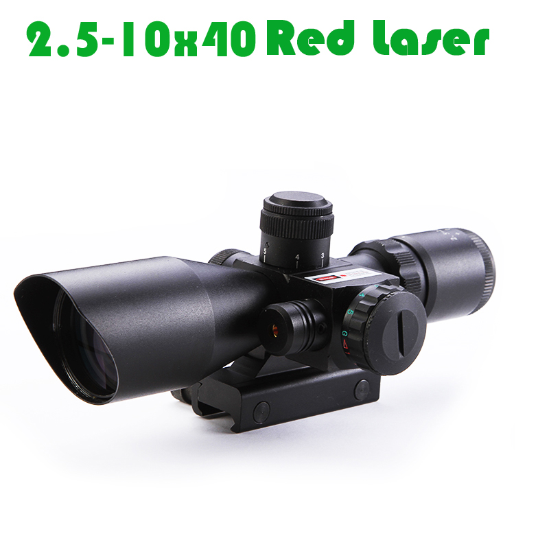 2.5-10x40 Integrated Short Sight Infrared Red Laser Red Dot High-definition Rifle Scope Anti-knock Ajustable 20mm Rail Mount 2 5 10x40 integrated short sight infrared red laser red dot high definition rifle scope anti knock ajustable 20mm rail mount