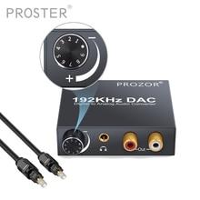 Prozor dac áudio conversor digital rca 3.5mm saída com controle de volume l/r decodificador toslink para analógico para o cinema em casa dvd