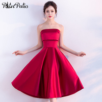 PotN Patio Strapless Sleeveless Satin Simple Tea Length Red Bridesmaid Dresses Plus Size 2017 New Wedding