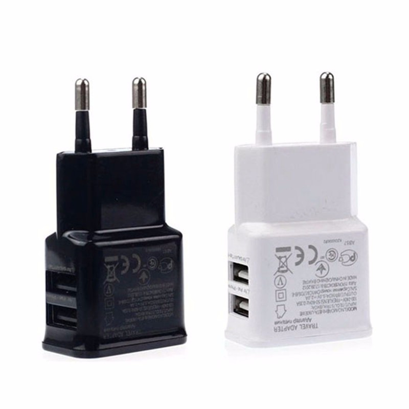 Antirr 2 USB Charger EU Plug For Samsung Xiaomi Huawei 5V2.4A Dual USB Port Travel Wall Charger Smart Phone USB Charger Adapter