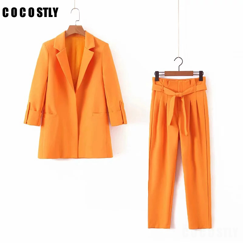 2019 Business Women Pencil Pant Suits 2 Piece Sets Orange Solid Blazer + Pants Office Lady Notched Jacket Female Suit