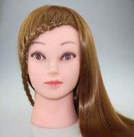 Training Head With Makeup 80% High Temperature Fiber 10% Real Hair Mannequin Head Hairdressing Cutting Training Head Mannequin