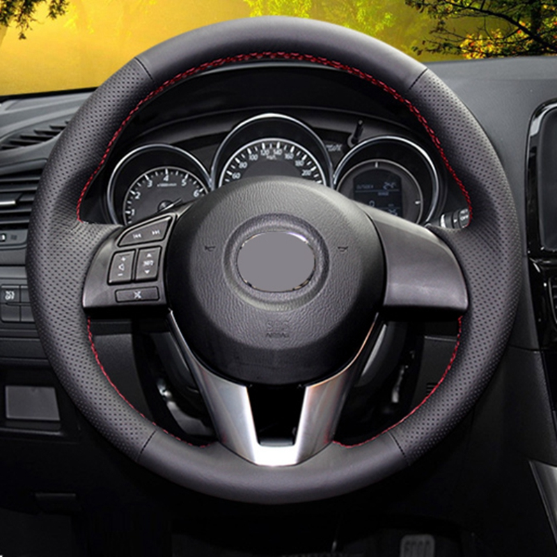GNUPME Artificial Leather Steering Cover Black Car Steering Wheel Cover for <font><b>Mazda</b></font> CX-5 <font><b>CX5</b></font> Atenza <font><b>2014</b></font> New <font><b>Mazda</b></font> 3 CX-3 2016 image