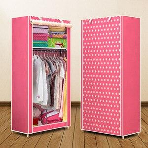 Image 5 - Actionclub นักเรียนผ้าตู้เสื้อผ้าชุด DIY ASSEMBLY ตู้เสื้อผ้าพับเดี่ยวตู้เก็บฝุ่นขนาดเล็ก Closet