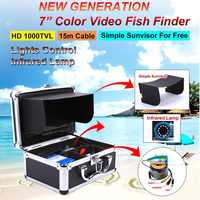 New 7 color screen Fish finder Underwater surveillance Fishing Camera Support DVR 15M and 30M cable infrared lamp freeshipping