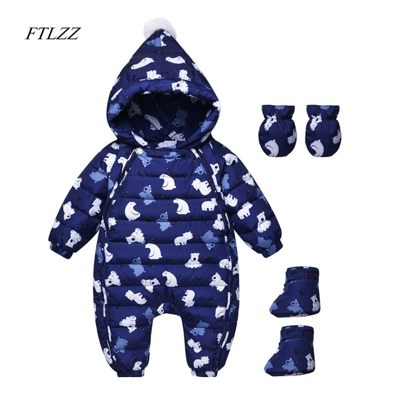 Winter Warm Baby Onesie Duck Down Romper Infant Boy Thick Jumpsuit Baby Girl Snowsuit Kid Newborn Clothes Shoes + Gloves 3pcs 2017 new baby winter romper cotton padded thick newborn baby girl warm jumpsuit autumn fashion baby s wear kid climb clothes