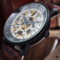FREQÜENTADOR de Relógios de Luxo Da Marca PU Couro Esqueleto Mecânico Automático Relógios Homens Vencedor Da Engrenagem Da Moda Relógios relogio masculino