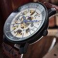 GOER Marca de Relojes de Lujo de LA PU de Cuero Mecánico Esquelético Automático Relojes Hombres Moda Gear Relojes relogio masculino Ganador