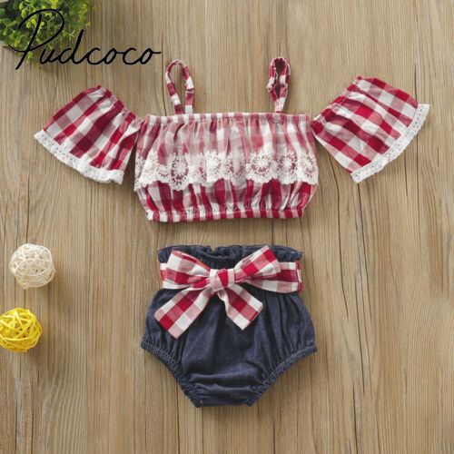 Neugeborene Baby Mädchen Spitze Plaid Tops Bowknot Denim Shorts Outfits Kleidung