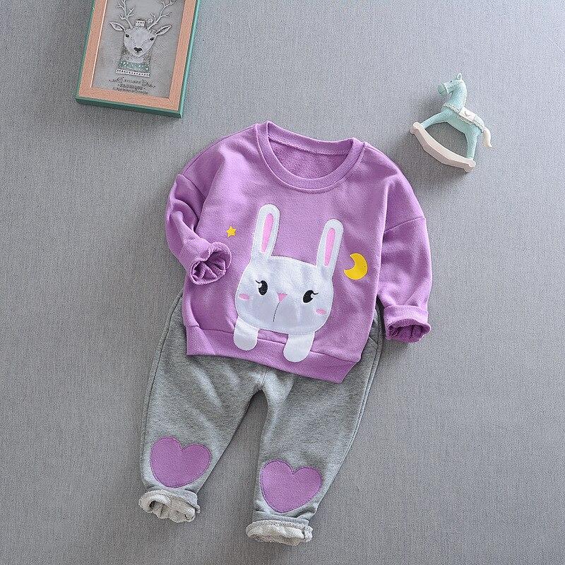 DapChild Toddler Kids Baby Girls Clothes Set Autumn Warm Sweatshirts Embroidered Cute Rabbit Pullover Children Sports Suit
