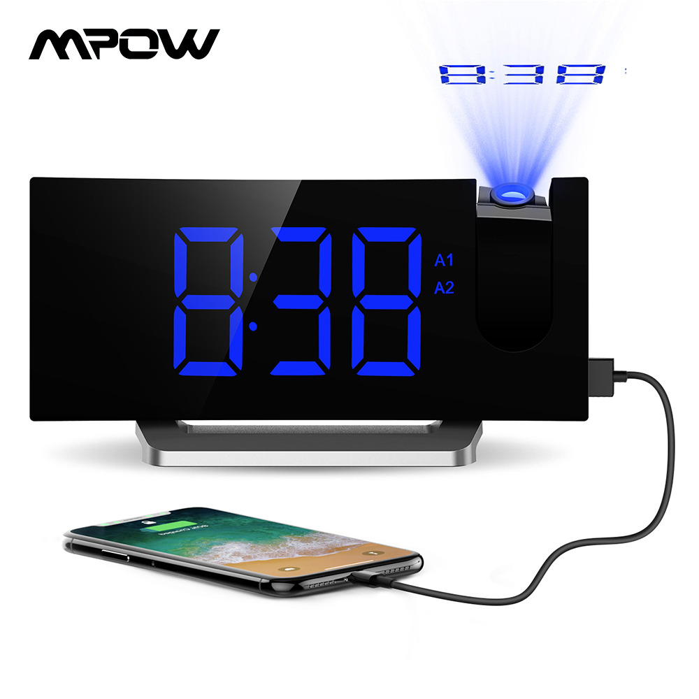 Mpow HM353 Digital Alarm Clock With FM Radio Projection 5'' LED Display 9min Snooze Function 4 Adjustable Alarm Sounds For Home
