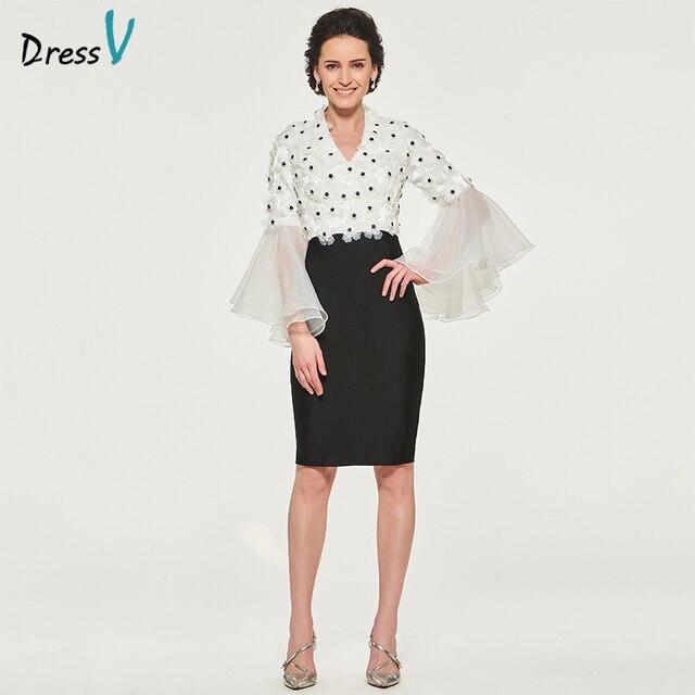 Dressv Mother Of The Bride Dress V Neck Knee Length Long Sleeves Sheath Appliques Ruffles Custom Wedding Party Mother Dress
