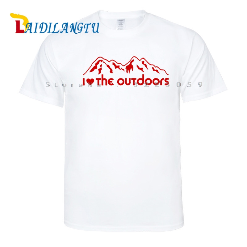 High Quality Love The Outdoors Hunting Fishing Climbing Men T-shirts Funny Design Printing Cotton Top Tees Customized