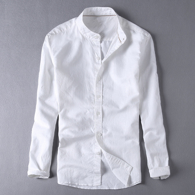 2d12e647ca Fashion Brand Mens Elegant White Linen Shirts Casual Mandarin Collar Shirt  Slim Fit Long Sleeve Male