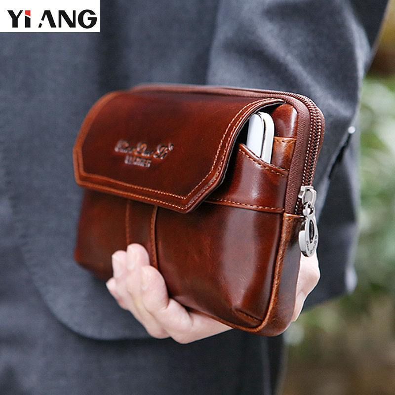 YIANG Retro Cowhide Men Clutch Bag Genuine Leather Male Bag Waist Packs Business Wallets Long Large Capacity Man Day Clutches