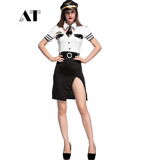 Sexy Women American Pilot Costumes Army Solider girl performance cosplay Halloween Fantasia Cosplay Fancy Dress