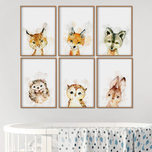 Watercolor Fox Rabbit Owl Hedgehog Wall Art Canvas Painting Nordic Posters And Prints Cartoon Pictures For Kids Room Decor