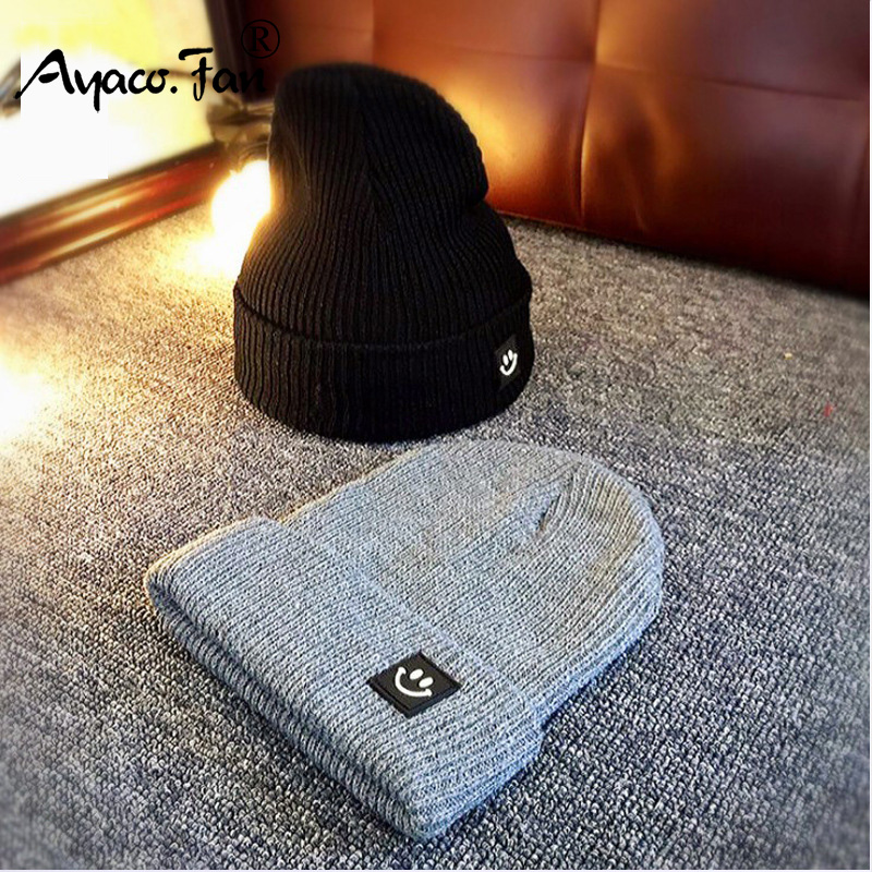 Ayaco.Fan Cute Smile Crochet 2019 Autumn Solid Warm Skullies Beanies Caps Female