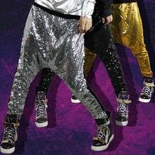 Новинка; Модные шаровары Женщины Bling Большой промежности персонализированные хип-хоп танцев сценические костюмы металла Цвет джаз брюки