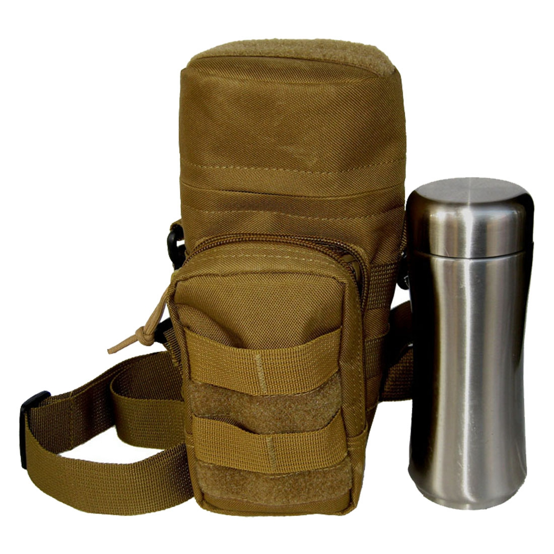 Molle Zipper Water Bottle Utility Medic Pouch w Small Mess Pouch war game (Color: Green)