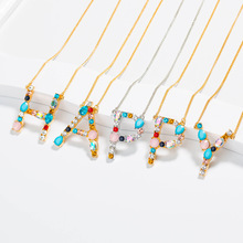 NEW Initial Multicolor CZ Necklace Personalized 26 Letter Name Jewelry For Women Accessories Girlfriend Gift