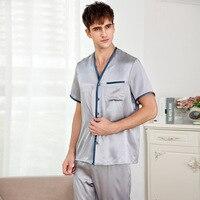Noble silver 100% genuine silk mens pajamas sets summer short sleeves sexy Fashion mens sleepwear plus size XXXL pijamas hombre