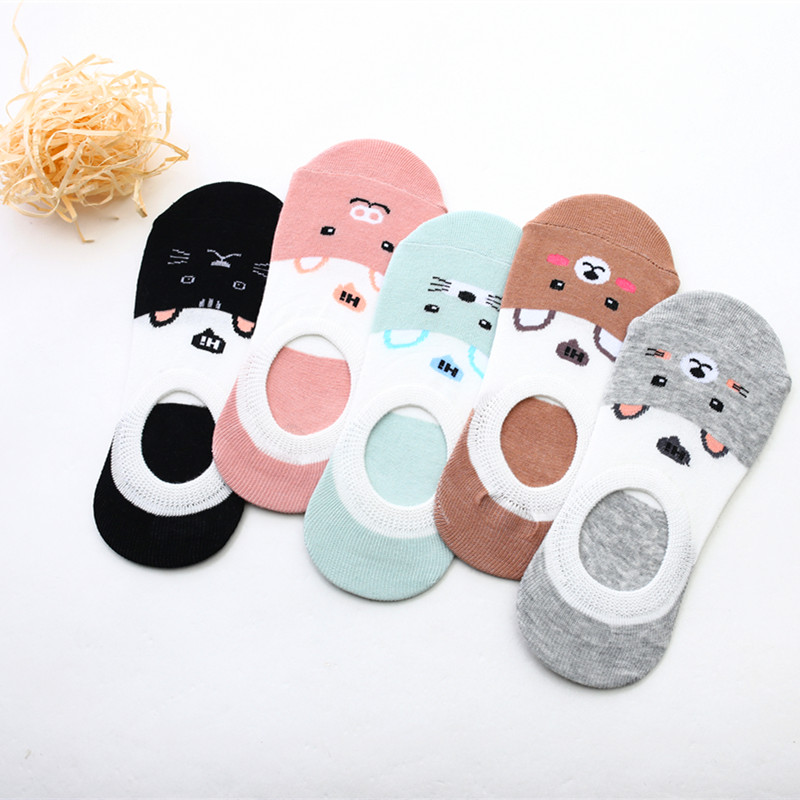 Free Shipping Women   Socks   Candy Color Small Animal Cartoon Pattern Boat   Sock   for Summer Breathable Casual Girls Funny Fashion