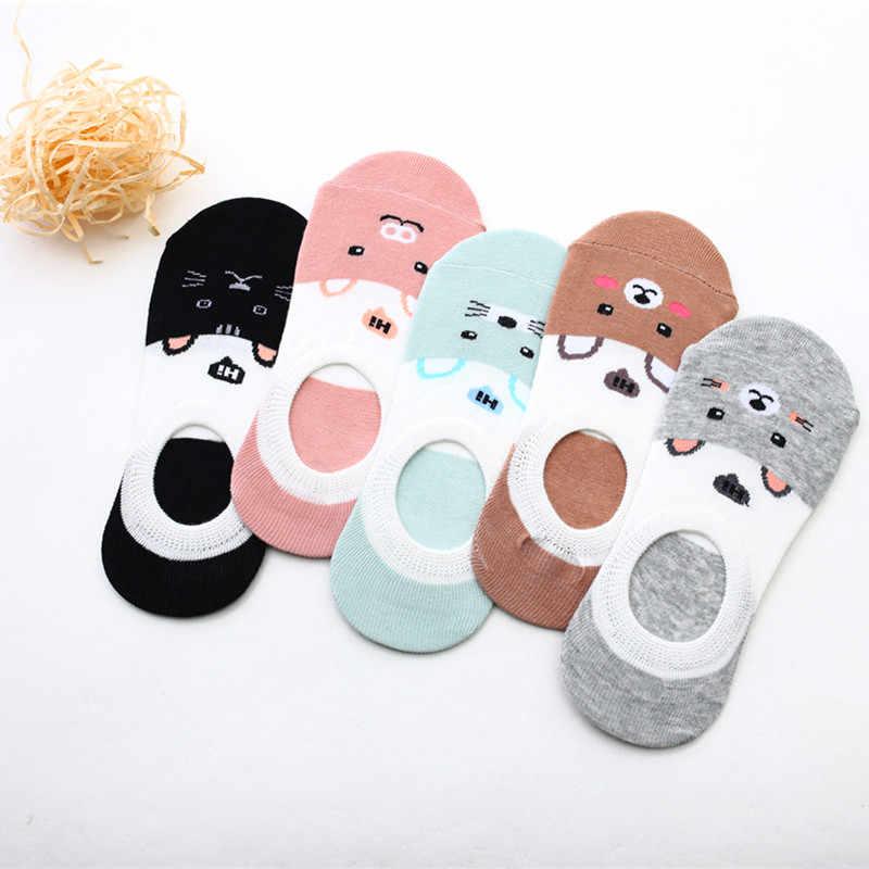 Kostenloser Versand Frauen Socken Candy Farbe Kleine Tier Cartoon-Muster Boot Socke für Sommer Atmungs Casual Mädchen Lustige Mode