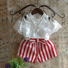 Girls Clothes Summer Kids Set White Lace Off Shoulder Short Sleeve Princess Top Red Striped Shorts Set Girls Short Sets 2-8Y недорого