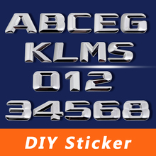 3D Chrome Metal Decal DIY Letter Numbers Styling Sticker For Mercedes BENZ W124 W176 W205 W203 W168 GLE500 ML400 SEL600 SL65 AMG