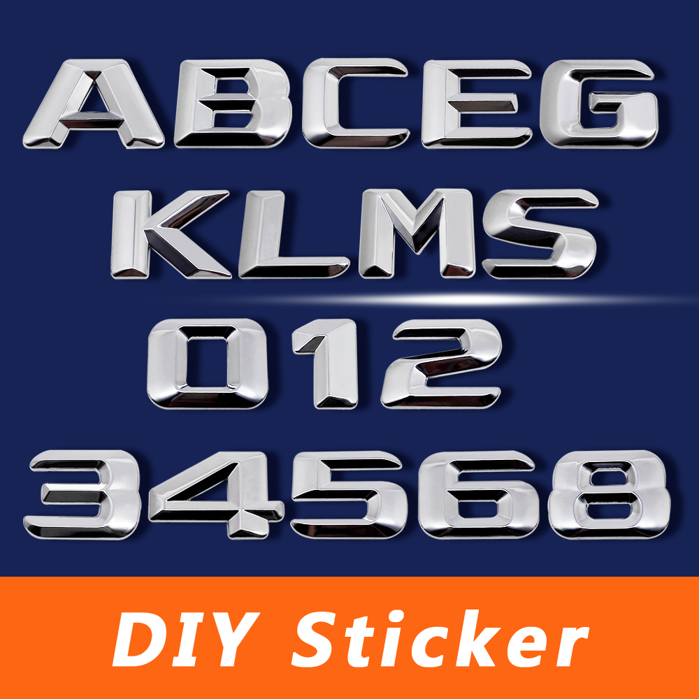 3D <font><b>Chrome</b></font> Metal Decal DIY Letter Numbers Styling Sticker For <font><b>Mercedes</b></font> BENZ <font><b>W124</b></font> W176 W205 W203 W168 GLE500 ML400 SEL600 SL65 AMG image