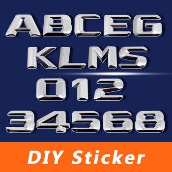 Pegatina 3D cromada de Metal DIY con letras y números para Mercedes BENZ W124 W176 W205 W203 W168 GLE500 ML400 SEL600 SL65 AMG