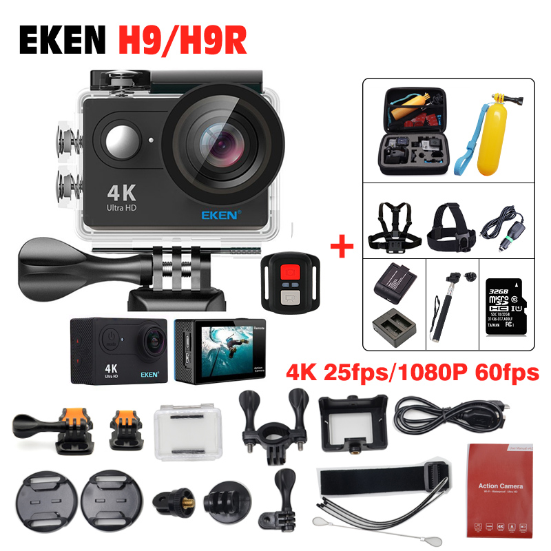 Action camera Original EKEN H9R/H9 Ultra hd 4K wifi Camera 1080P /60fps 2.0 LCD 170D go 4 K pro waterproof wifi sport action cam original eken action camera eken h9r h9 ultra hd 4k wifi remote control sports video camcorder dvr dv go waterproof pro camera