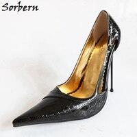 Sorbern/пикантные женские туфли лодочки на высоком тонком каблуке 14 см; туфли на шпильке с металлическим каблуком; черные лакированные туфли бе