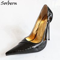Sorbern сексуальные тонкие 14 см высокие каблуки женские туфли лодочки на шпильках Металлические каблуки тиснение черная лакированная вечерня