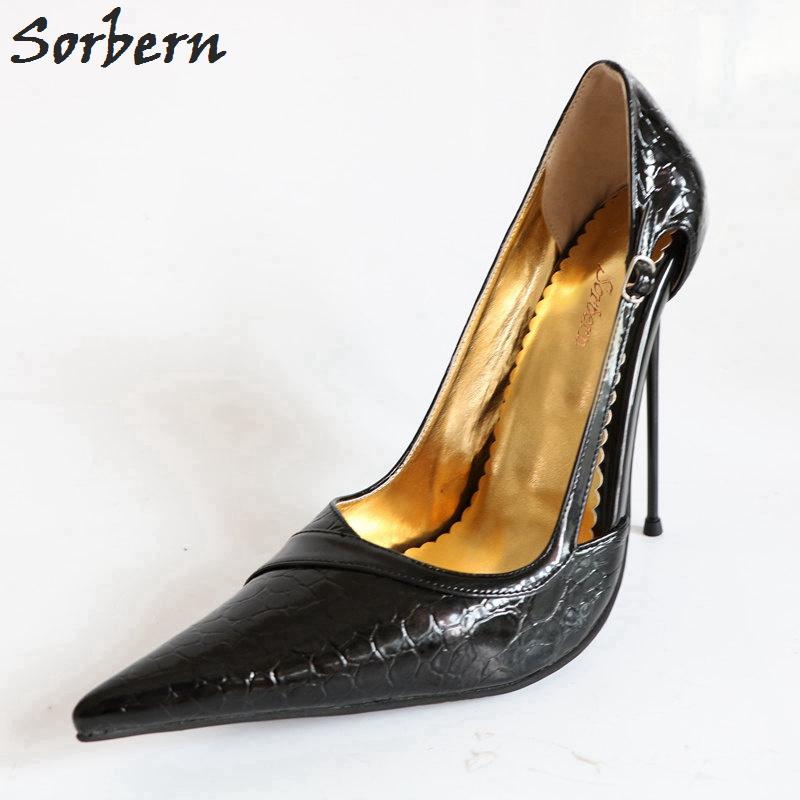 Sorbern Sexy Thin 14Cm High Heels Women Pumps Stilettos Metal Heels Embossing Black Patent Slip On Party Shoes Big Size Shoes