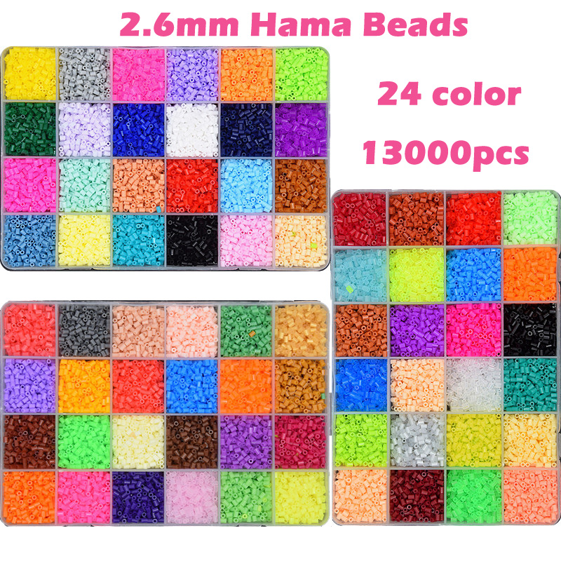24 Color Perler Beads 13000pcs box set of 2.6mm Hama Beads for Children Educational jigsaw puzzle DIY Toys Fuse Beads Pegboard eva 1 lot 2 pcs hama fuse perler beads 2 6mm big square pegboards connecting pegoard mini hama beads jigsaw puzzle handmade diy