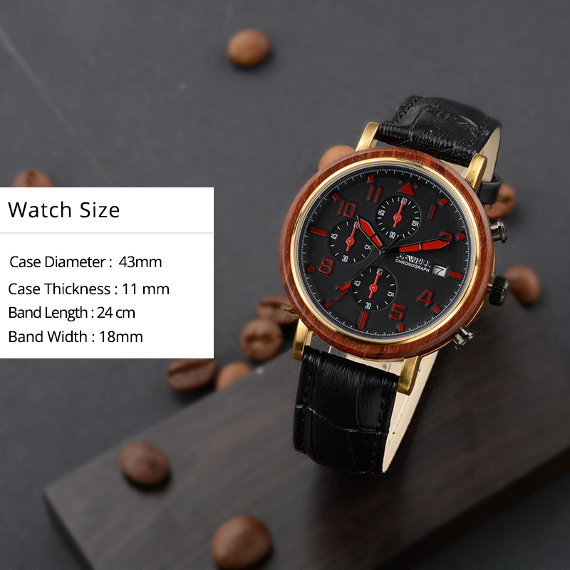 BEWELL New Waterproof Alloy Wood Men Watches With Luminous Hands And Stopwatch Top Luxury Brand Clock With Leather Band 1061A 3