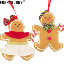FUNNYBUNNY Christmas Dolls Decorations,Christmas Tree Ornament Gingerbread Man Xmas Hanging Pendant Doll Decor цены