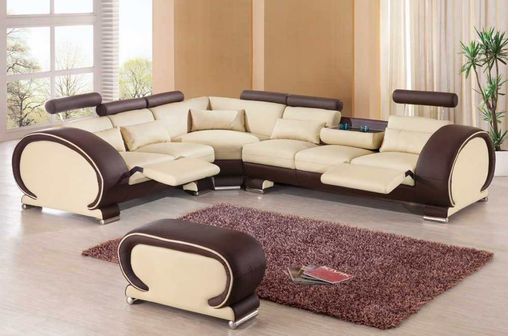 US $1040.25 5% OFF|2015 designer modern top graded cow Recliner leather  sofa set Living room sofa set with reclining chair #9002 with cupboard-in  ...