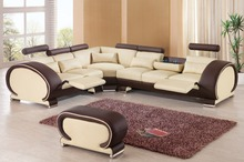 2015 Recliner leather sofa set Living room sofa set with reclining chair #9002 wich cupboard
