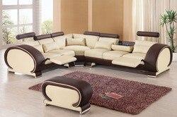 2015 designer moderno superior graduado vaca reclinável conjunto de sofá de couro sala estar conjunto com cadeira reclinável #9002 com armário