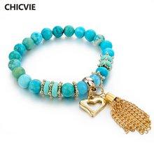 Chicvie синий полый браслет с подвесками в виде сердца браслеты