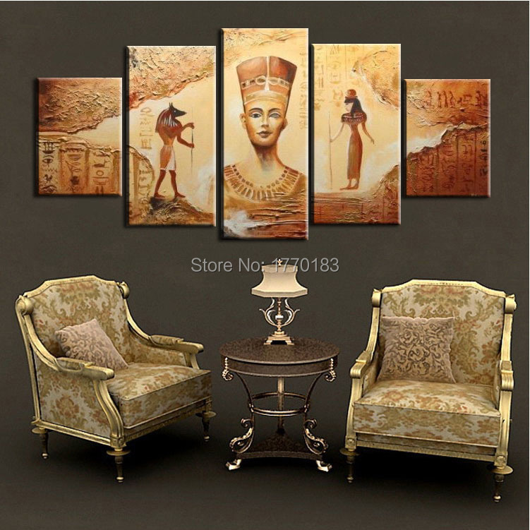 4 Styles 5pcs Abstract Ancient Egyptian Decorative Oil Painting On Canvas Home Decor Wall Picture For Living Room Art Set Pictures Of Famous Paintings Pictures Landscape Paintingspicture Oil Painting Aliexpress