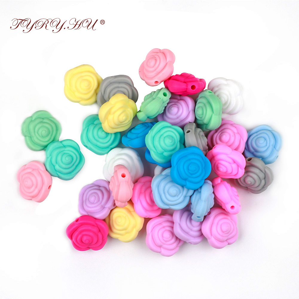 TYRY.HU 15pc Pearl Silicone Flower Baby Teething Rodent Bead Bebe Chew Jewelry Kid's Toys Diy Making Baby Teethers