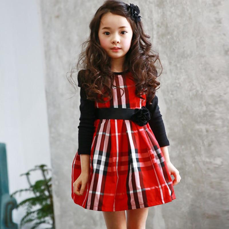 Kids Dress For 4 15years 2015 Autumn Winter Long Sleeve