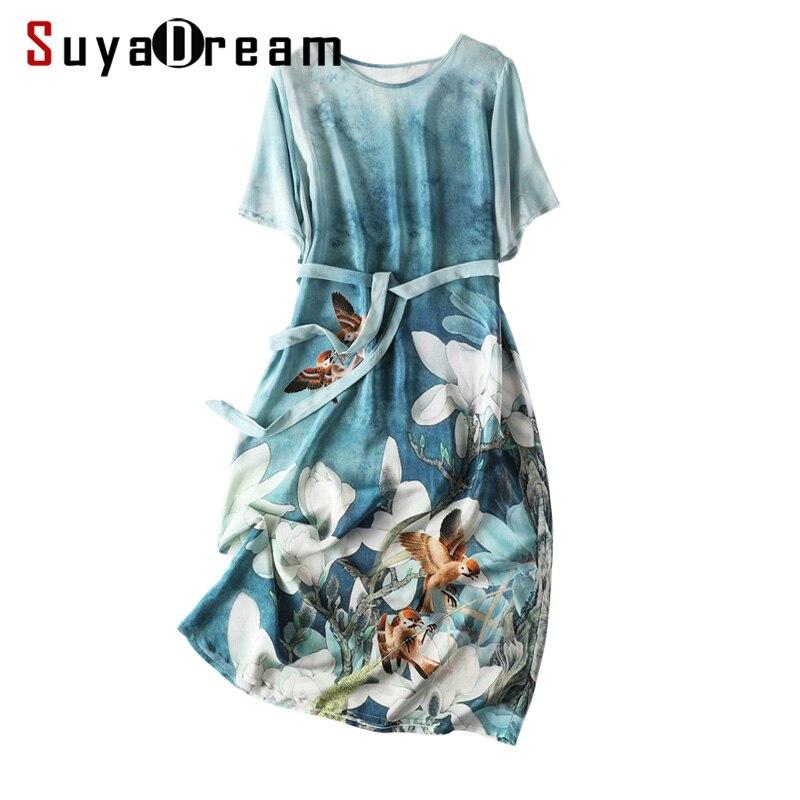 Women Belted Dress 100 REAL SILK Crepe Vintange Printed Dresses O neck 3 4 Sleeved lDresses